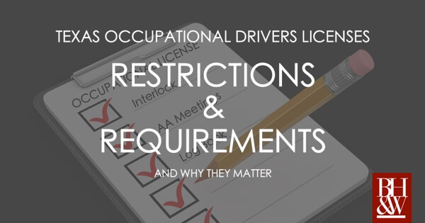 Texas Occupational Drivers License Rules