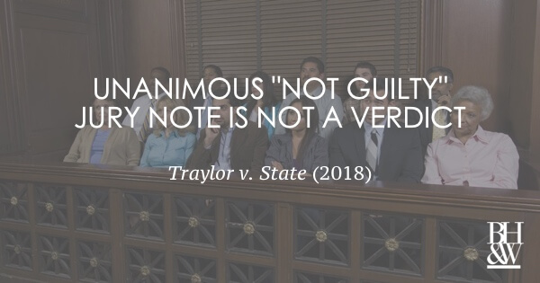Jury Note Not Verdict Jeopdardy Traylor